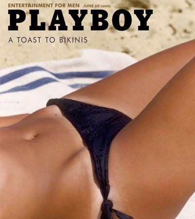 Prima Cover Playboy ritraente una donna in bikini, 1962